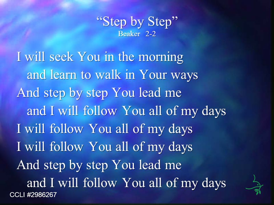 Step by Step Beaker2-2 I will seek You in the morning and learn to walk in Your ways And step by step You lead me and I will follow You all of my days