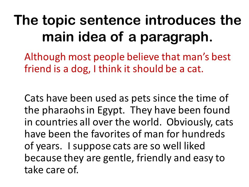 The topic sentence introduces the main idea of a paragraph.