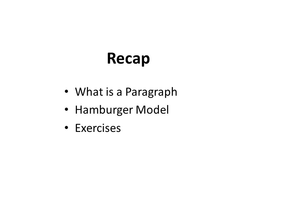 Recap What is a Paragraph Hamburger Model Exercises