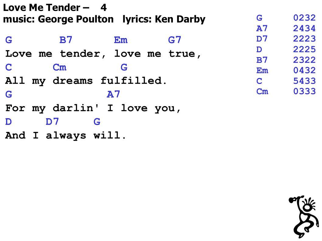 Love Me Tender – 4 music: George Poulton lyrics: Ken Darby G B7 Em G7 Love me tender, love me true, C Cm G All my dreams fulfilled.