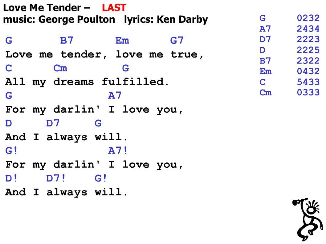 Love Me Tender – LAST music: George Poulton lyrics: Ken Darby G B7 Em G7 Love me tender, love me true, C Cm G All my dreams fulfilled.