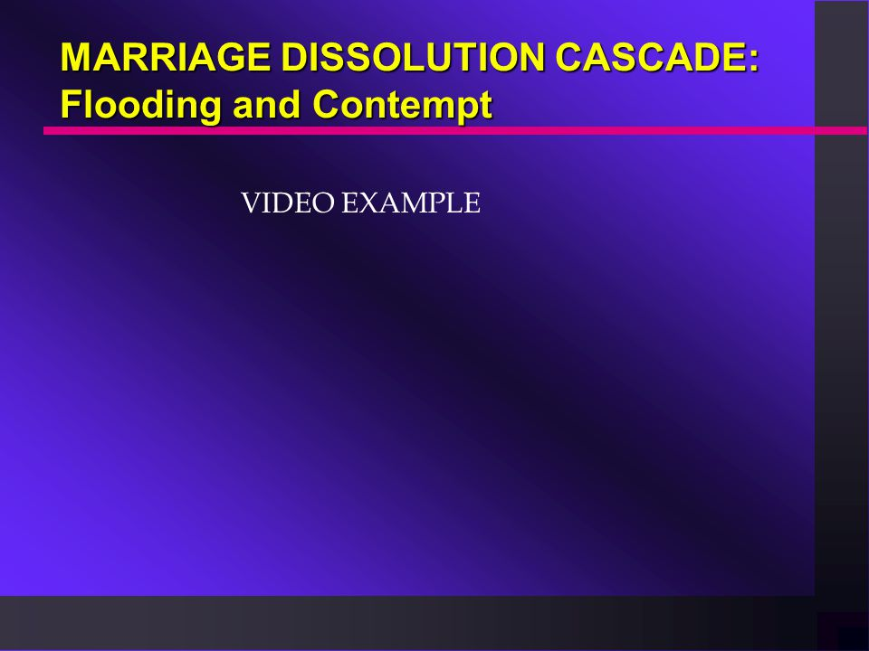 THE MARRIAGE DISSOLUTION CASCADE Repeated Complaining and criticizing leads toComplaining and criticizing leads to Contempt, which leads toContempt, w