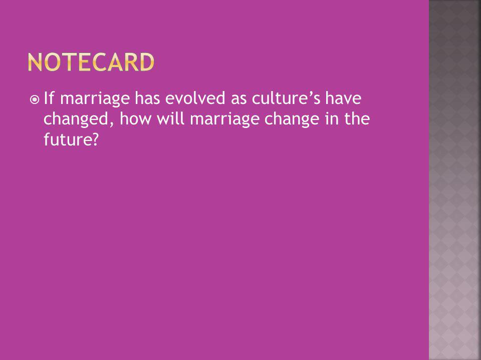 If marriage has evolved as cultures have changed, how will marriage change in the future?