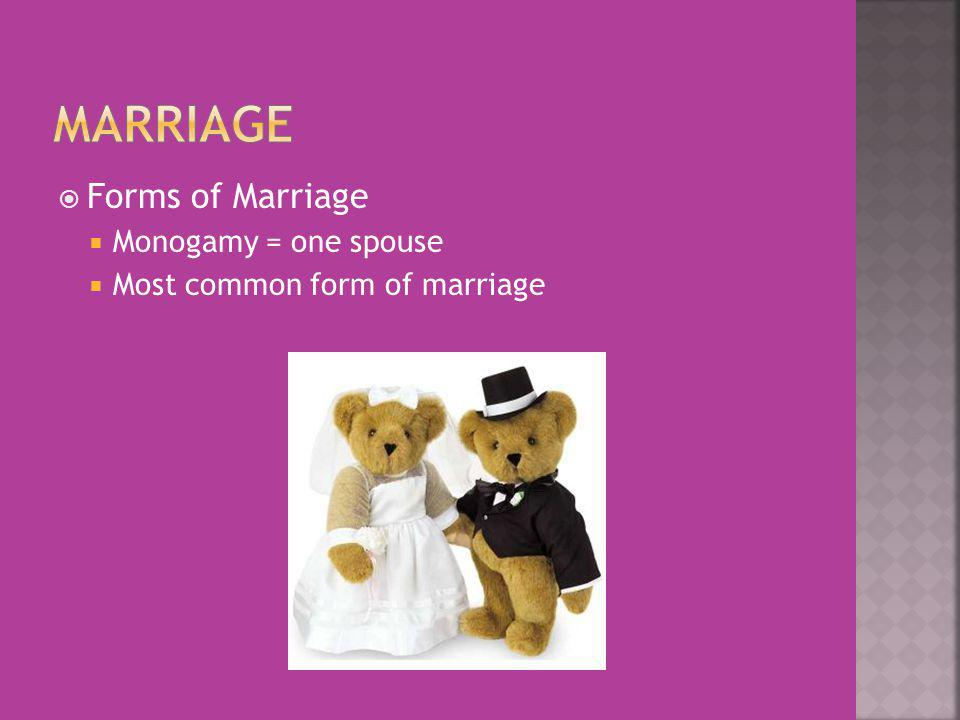 Forms of Marriage Monogamy = one spouse Most common form of marriage
