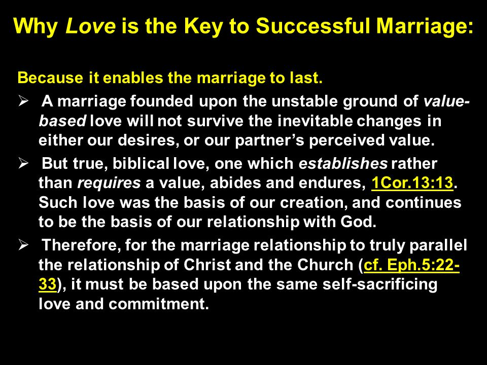Why Love is the Key to Successful Marriage: Because it enables the marriage to last.