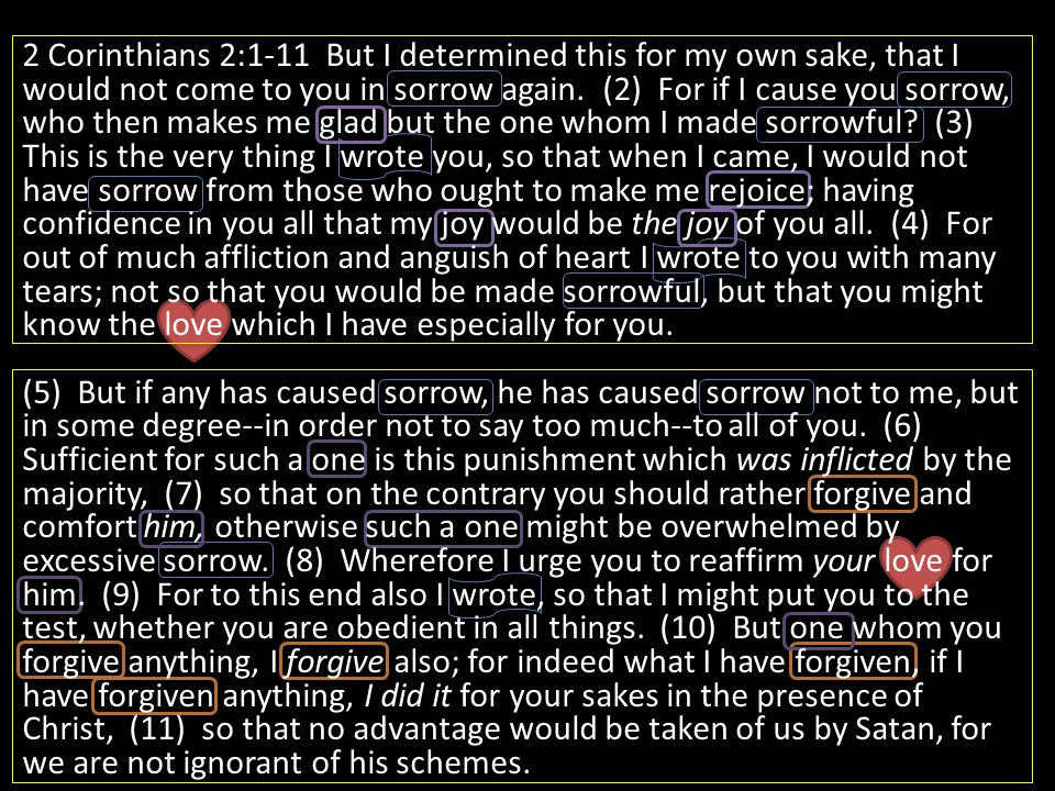 2 Corinthians 2:1-11 But I determined this for my own sake, that I would not come to you in sorrow again. (2) For if I cause you sorrow, who then make