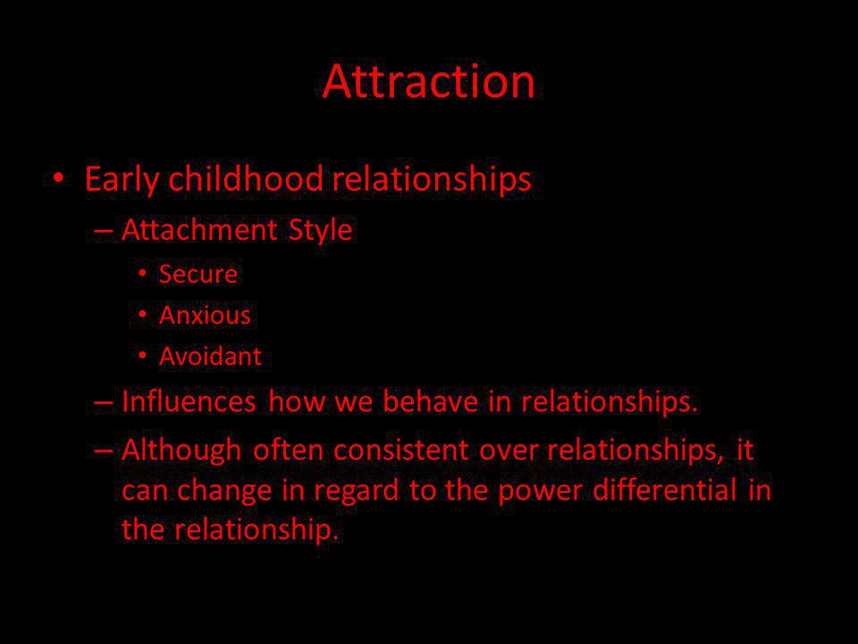 Attraction Early childhood relationships – Attachment Style Secure Anxious Avoidant – Influences how we behave in relationships.