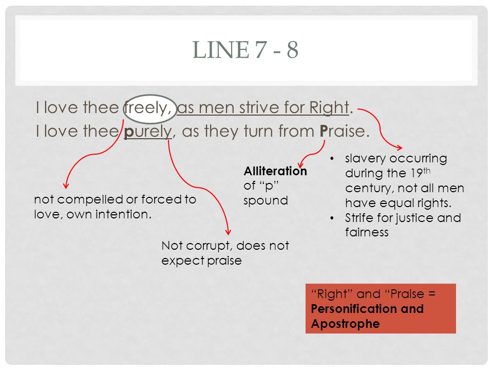 LINE 7 - 8 I love thee freely, as men strive for Right.