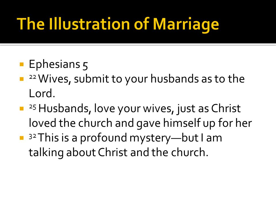 Ephesians 5 22 Wives, submit to your husbands as to the Lord. 25 Husbands, love your wives, just as Christ loved the church and gave himself up for he