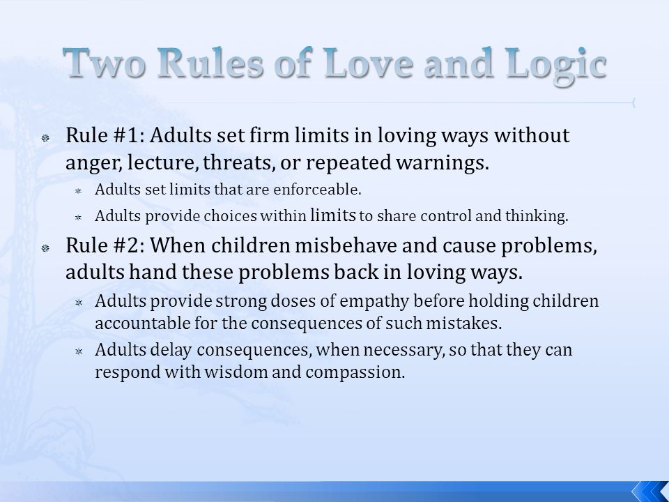 Rule #1: Adults set firm limits in loving ways without anger, lecture, threats, or repeated warnings.