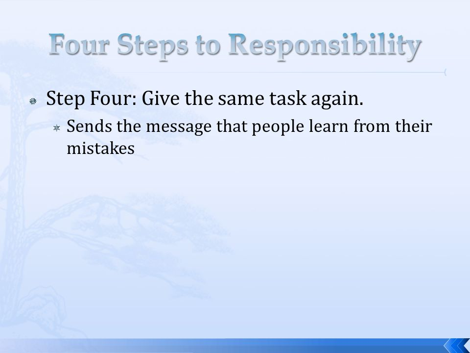 Step Four: Give the same task again. Sends the message that people learn from their mistakes