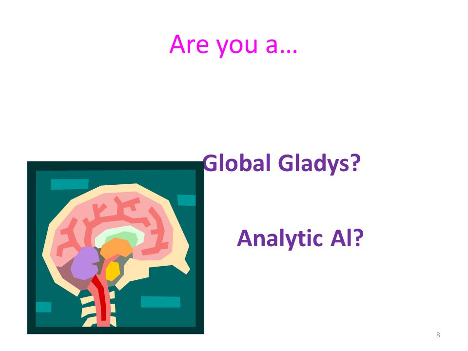 Are you a… Global Gladys? Analytic Al? 8