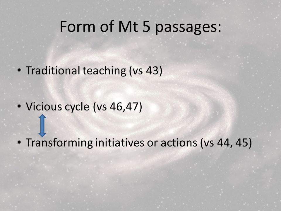 Form of Mt 5 passages: Traditional teaching (vs 43) Vicious cycle (vs 46,47) Transforming initiatives or actions (vs 44, 45)