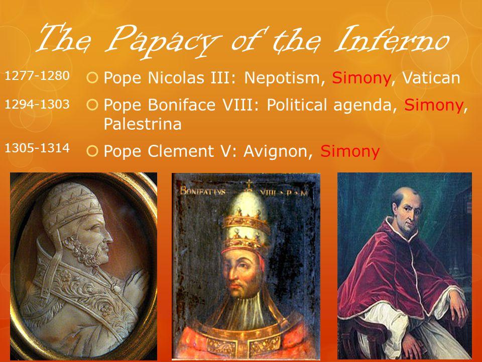 The Papacy of the Inferno Pope Nicolas III: Nepotism, Simony, Vatican Pope Boniface VIII: Political agenda, Simony, Palestrina Pope Clement V: Avignon, Simony 1277-1280 1294-1303 1305-1314