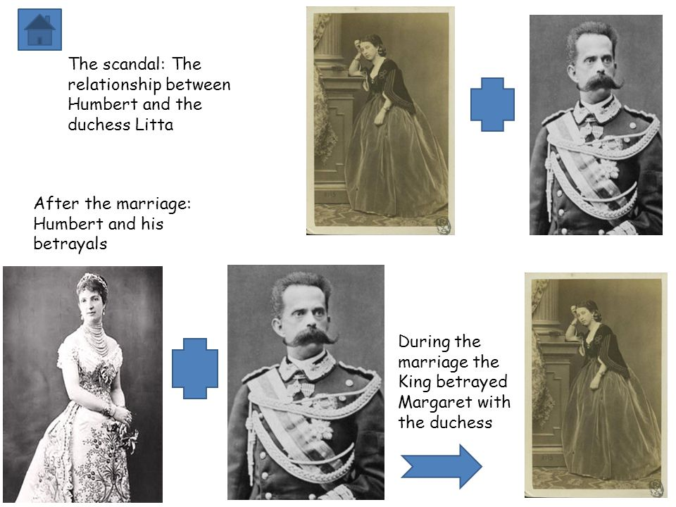 The scandal: The relationship between Humbert and the duchess Litta After the marriage: Humbert and his betrayals During the marriage the King betrayed Margaret with the duchess
