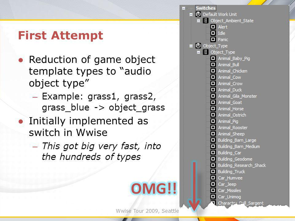 Wwise Tour 2009, Seattle First Attempt Reduction of game object template types to audio object type – Example: grass1, grass2, grass_blue -> object_grass Initially implemented as switch in Wwise – This got big very fast, into the hundreds of types