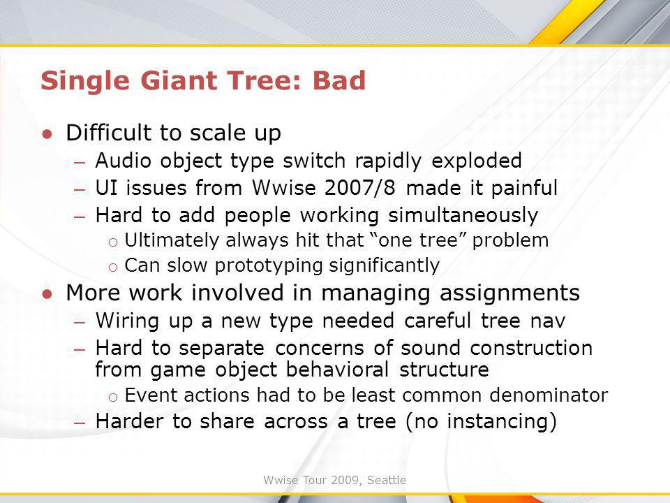 Wwise Tour 2009, Seattle Single Giant Tree: Bad Difficult to scale up – Audio object type switch rapidly exploded – UI issues from Wwise 2007/8 made it painful – Hard to add people working simultaneously o Ultimately always hit that one tree problem o Can slow prototyping significantly More work involved in managing assignments – Wiring up a new type needed careful tree nav – Hard to separate concerns of sound construction from game object behavioral structure o Event actions had to be least common denominator – Harder to share across a tree (no instancing)