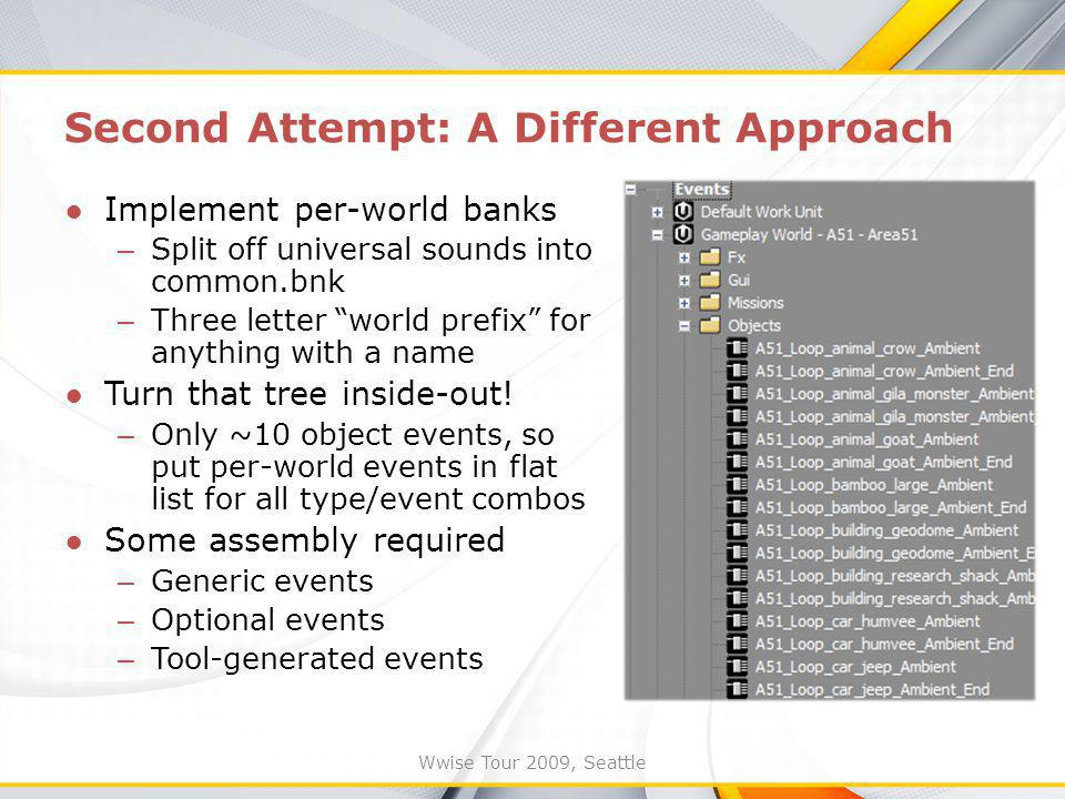 Wwise Tour 2009, Seattle Second Attempt: A Different Approach Implement per-world banks – Split off universal sounds into common.bnk – Three letter world prefix for anything with a name Turn that tree inside-out.