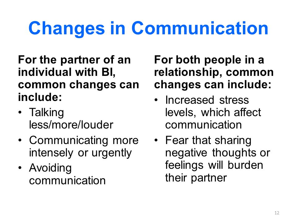 Changes in Communication For the partner of an individual with BI, common changes can include: Talking less/more/louder Communicating more intensely or urgently Avoiding communication For both people in a relationship, common changes can include: Increased stress levels, which affect communication Fear that sharing negative thoughts or feelings will burden their partner 12