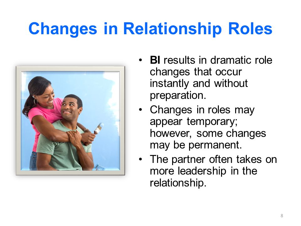 Changes in Relationship Roles BI results in dramatic role changes that occur instantly and without preparation. Changes in roles may appear temporary;