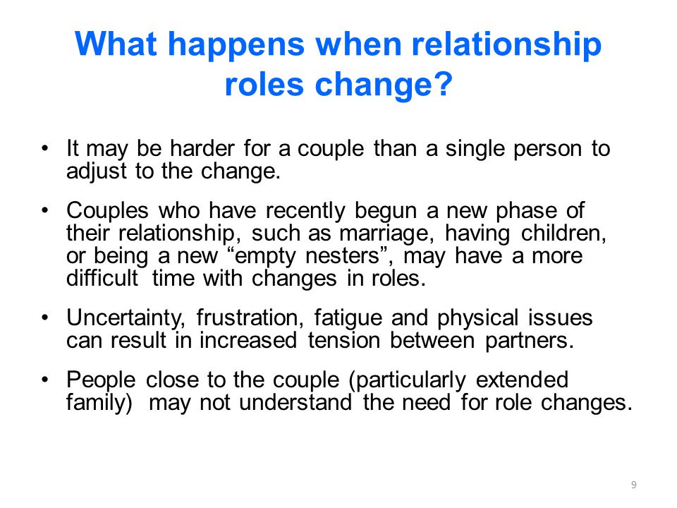 Tips to Improve a Relationship When Roles Have Changed Openly talk about these changes and how they affect your family.