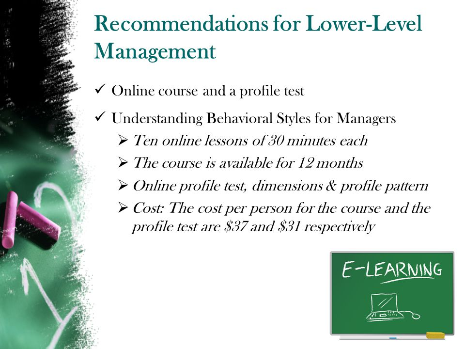 Recommendations for Lower-Level Management Online course and a profile test Understanding Behavioral Styles for Managers Ten online lessons of 30 minutes each The course is available for 12 months Online profile test, dimensions & profile pattern Cost: The cost per person for the course and the profile test are $37 and $31 respectively