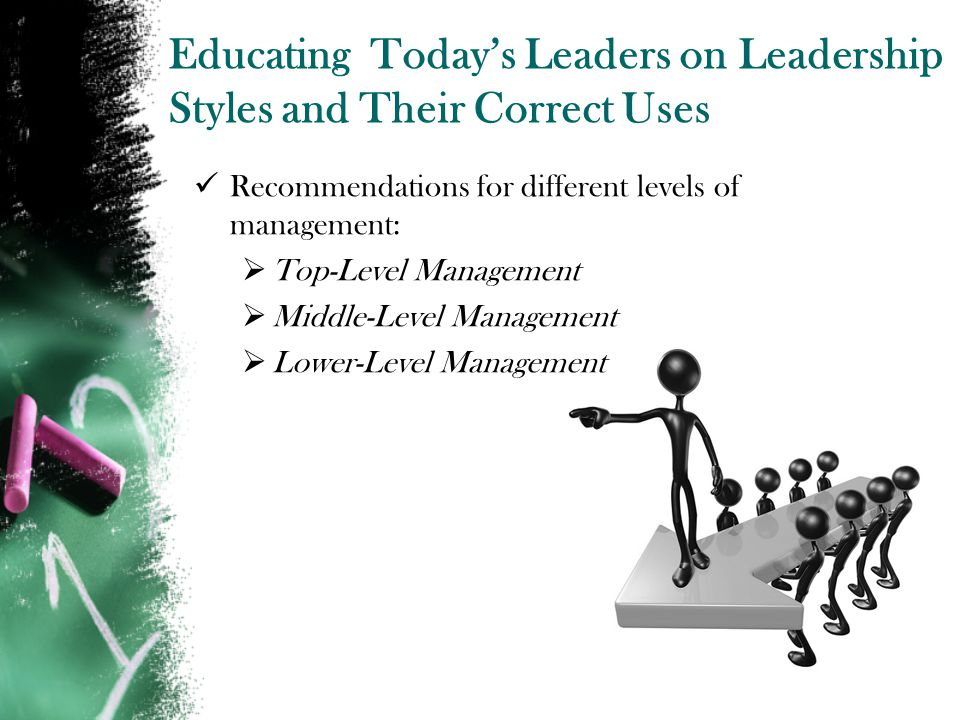 Educating Todays Leaders on Leadership Styles and Their Correct Uses Recommendations for different levels of management: Top-Level Management Middle-Level Management Lower-Level Management