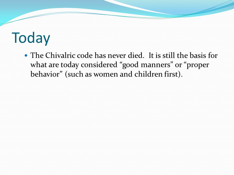 Today The Chivalric code has never died.
