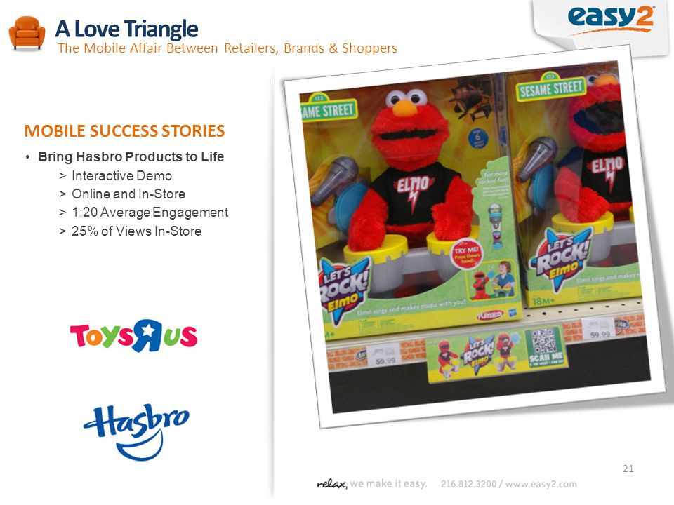 21 Bring Hasbro Products to Life >Interactive Demo >Online and In-Store >1:20 Average Engagement >25% of Views In-Store MOBILE SUCCESS STORIES A Love Triangle The Mobile Affair Between Retailers, Brands & Shoppers