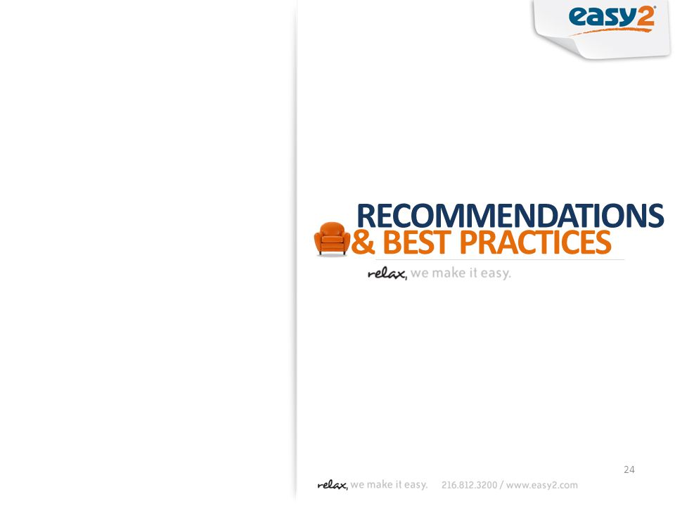 24 RECOMMENDATIONS & BEST PRACTICES