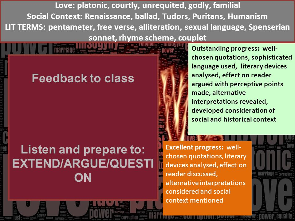 Feedback to class Listen and prepare to: EXTEND/ARGUE/QUESTI ON Excellent progress: well- chosen quotations, literary devices analysed, effect on reader discussed, alternative interpretations considered and social context mentioned Outstanding progress: well- chosen quotations, sophisticated language used, literary devices analysed, effect on reader argued with perceptive points made, alternative interpretations revealed, developed consideration of social and historical context Love: platonic, courtly, unrequited, godly, familial Social Context: Renaissance, ballad, Tudors, Puritans, Humanism LIT TERMS: pentameter, free verse, alliteration, sexual language, Spenserian sonnet, rhyme scheme, couplet