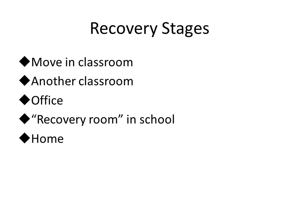 Recovery Stages Move in classroom Another classroom Office Recovery room in school Home