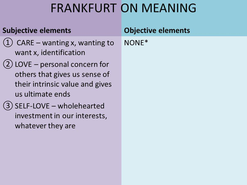 CARE – wanting x, wanting to want x, identification LOVE – personal concern for others that gives us sense of their intrinsic value and gives us ultimate ends SELF-LOVE – wholehearted investment in our interests, whatever they are Subjective elementsObjective elements NONE* FRANKFURT ON MEANING
