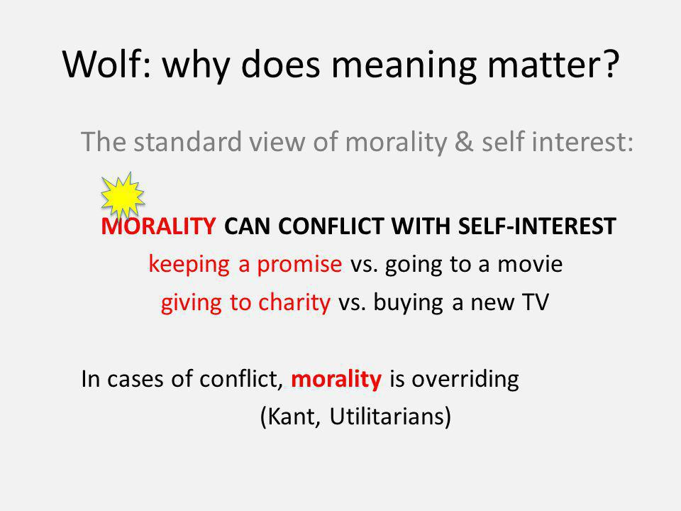 Wolf: why does meaning matter.