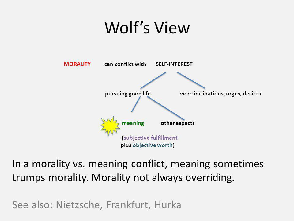 Wolfs View MORALITY can conflict with SELF-INTEREST pursuing good lifemere inclinations, urges, desires meaning other aspects (subjective fulfillment plus objective worth) In a morality vs.