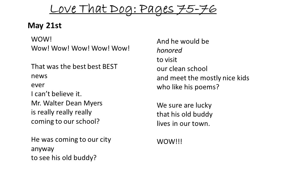 Love That Dog: Pages 75-76 May 21st WOW! Wow! Wow! Wow! Wow! Wow! That was the best best BEST news ever I cant believe it. Mr. Walter Dean Myers is re