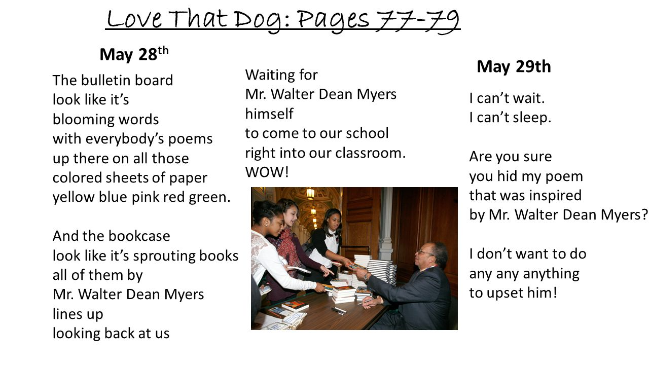 Love That Dog: Pages 77-79 May 28 th Waiting for Mr. Walter Dean Myers himself to come to our school right into our classroom. WOW! The bulletin board