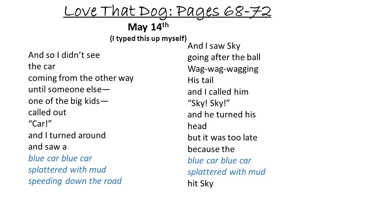 Love That Dog: Pages 68-72 May 14 th (I typed this up myself) And so I didnt see the car coming from the other way until someone else one of the big k
