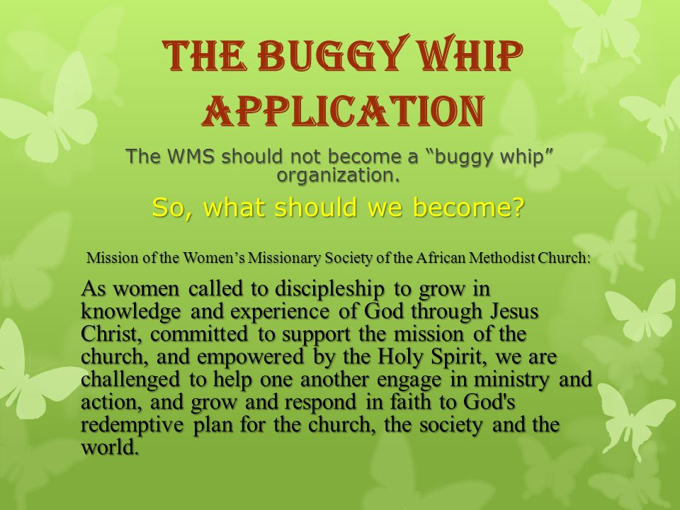 The Buggy Whip Application The WMS should not become a buggy whip organization.
