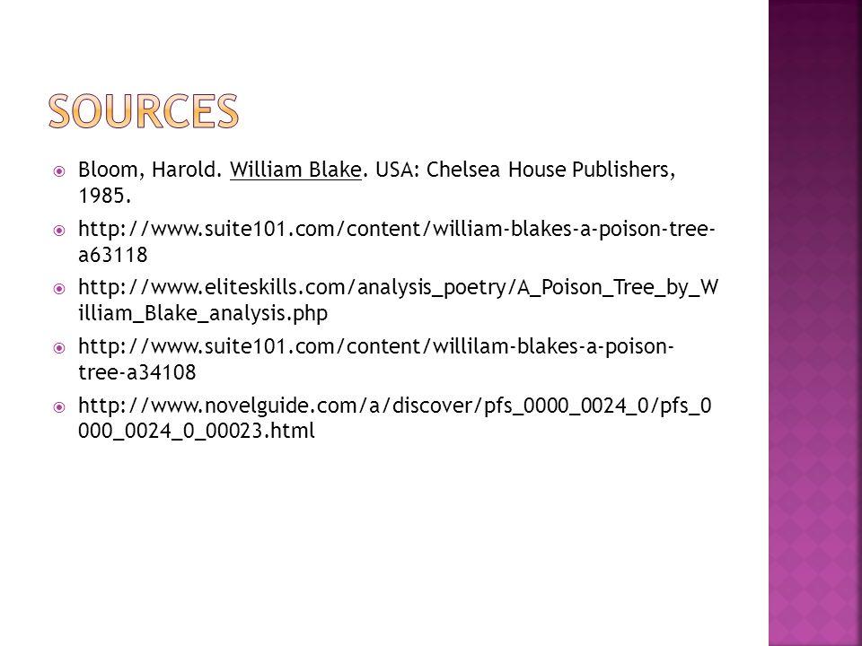 Bloom, Harold. William Blake. USA: Chelsea House Publishers, 1985.