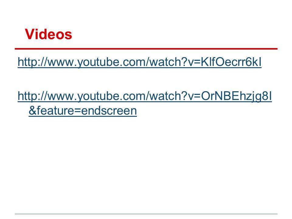 Videos http://www.youtube.com/watch?v=KlfOecrr6kI http://www.youtube.com/watch?v=OrNBEhzjg8I &feature=endscreen