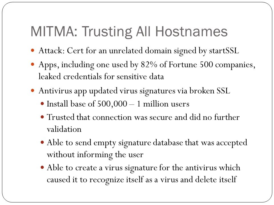 MITMA: Trusting All Hostnames Attack: Cert for an unrelated domain signed by startSSL Apps, including one used by 82% of Fortune 500 companies, leaked