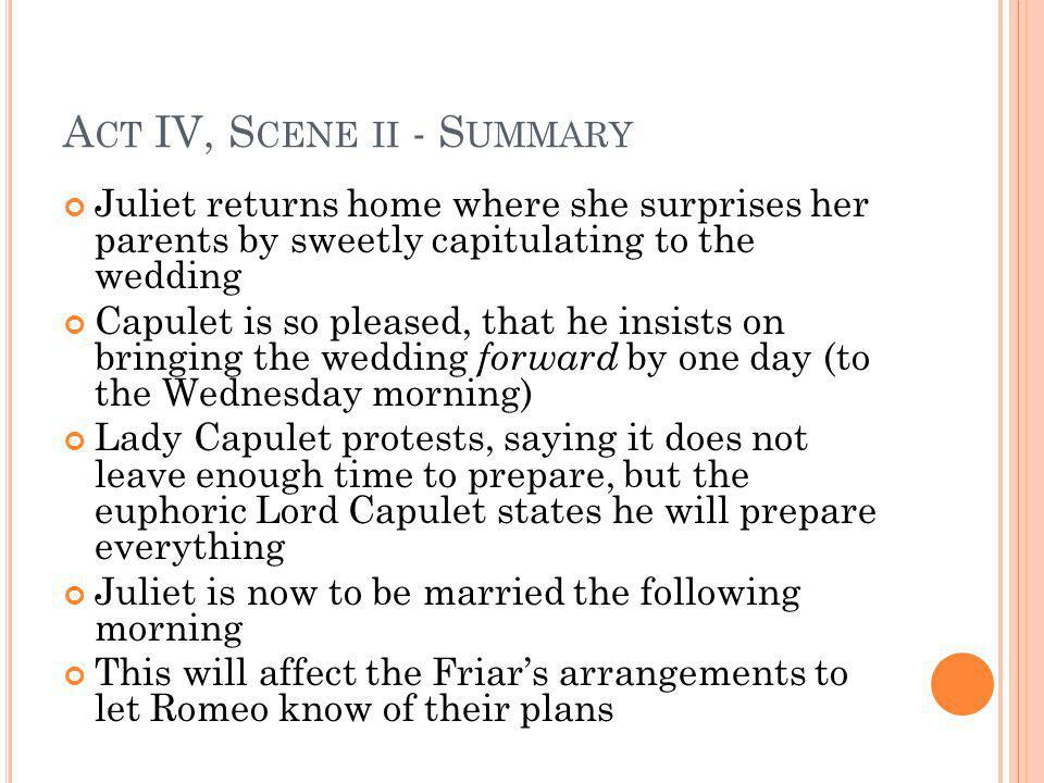 A CT IV, S CENE II - S UMMARY Juliet returns home where she surprises her parents by sweetly capitulating to the wedding Capulet is so pleased, that h