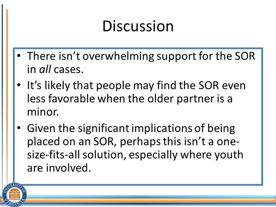 Discussion There isnt overwhelming support for the SOR in all cases.