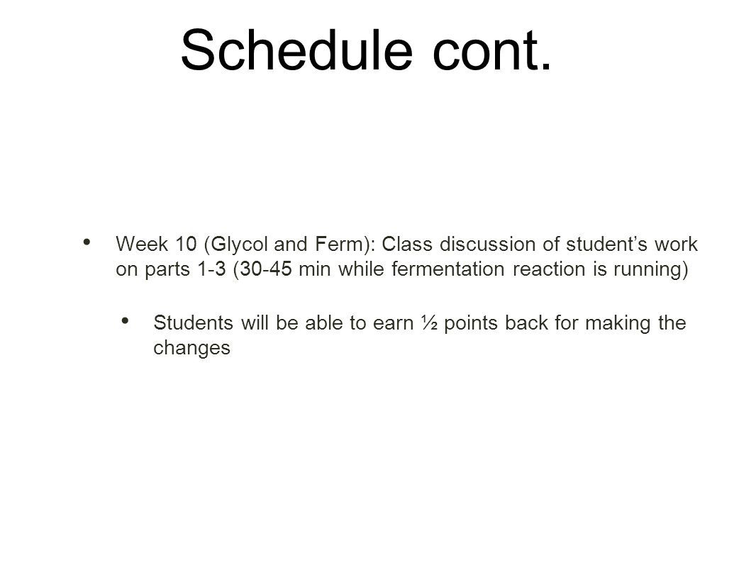 Schedule cont.