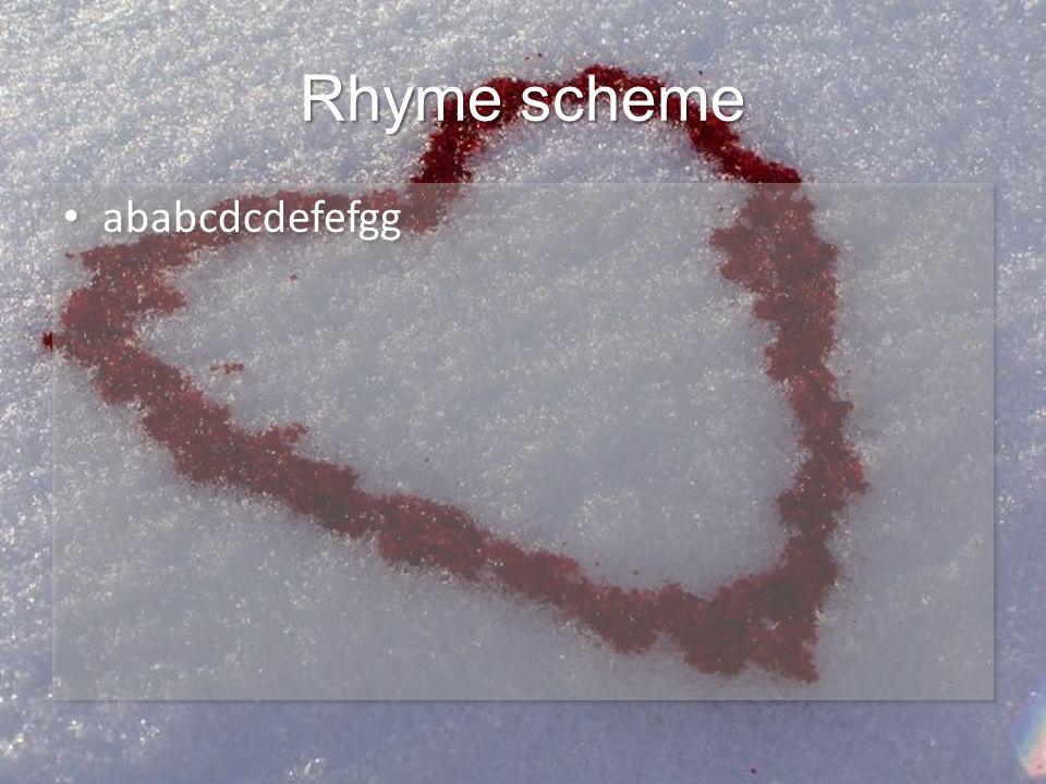Rhyme scheme ababcdcdefefgg