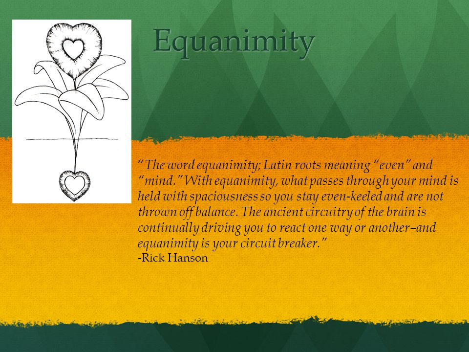 Equanimity The word equanimity; Latin roots meaning even and mind.