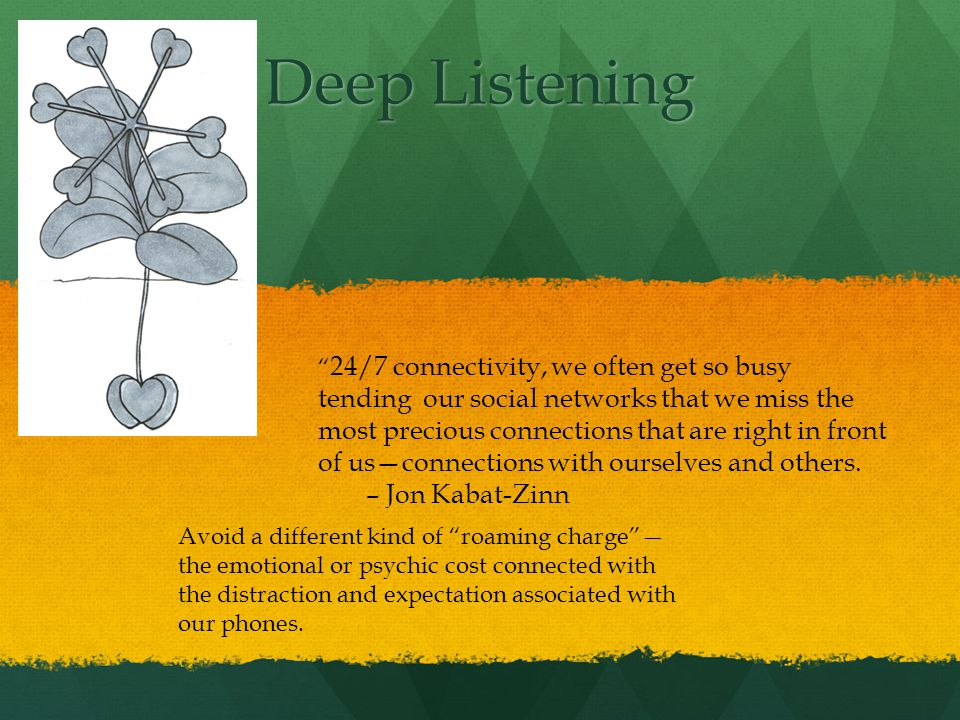 Deep Listening 24/7 connectivity, we often get so busy tending our social networks that we miss the most precious connections that are right in front of usconnections with ourselves and others.