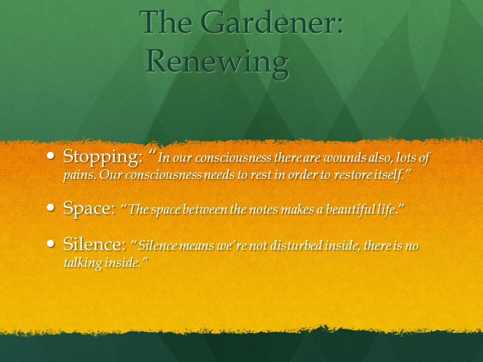 The Gardener: Renewing Stopping: In our consciousness there are wounds also, lots of pains.