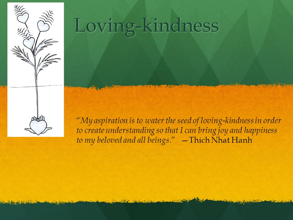 Loving-kindness My aspiration is to water the seed of loving-kindness in order to create understanding so that I can bring joy and happiness to my beloved and all beings.
